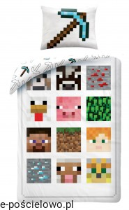 pościel 140x200 minecraft creeper alex pig